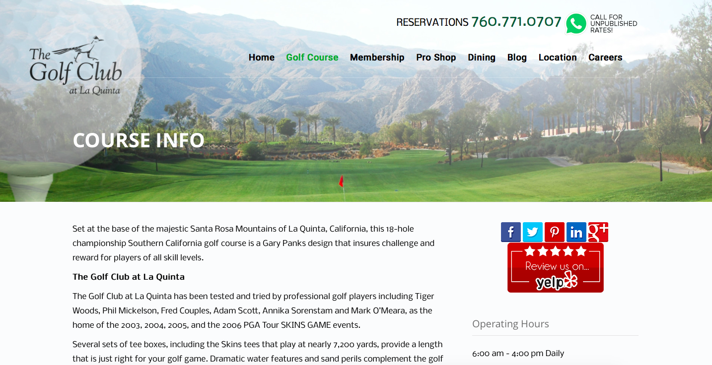 The Golf Club reservations 760-771-0707 call for unpublished rates!