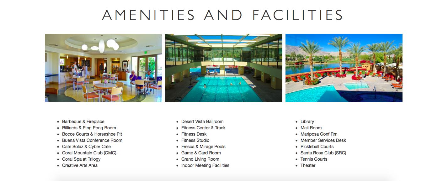 Amenities and Facilities screen caption
