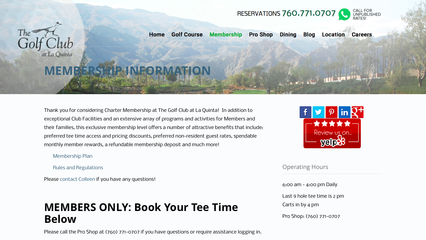 The Golf Club reservations 760-771-0707 call for unpublished rates