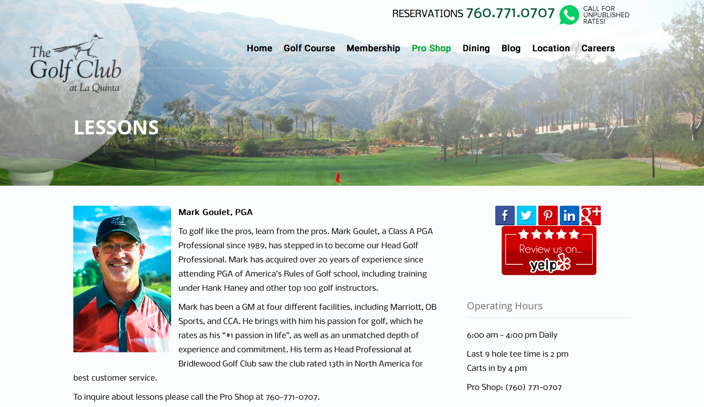 The Golf Club reservations 760-771-0707 call for unpublished rates. Mark Goulet, Customer Service